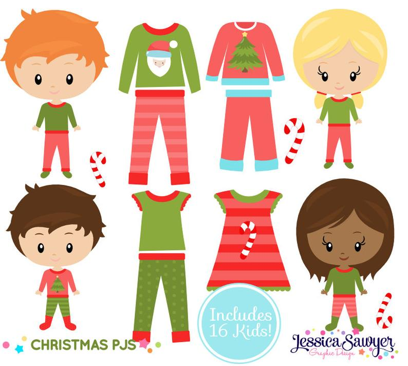 Instant download christmas pajama. Pajamas clipart work
