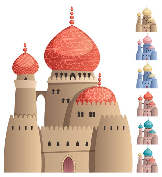 Palace clipart arabian palace. Castle on white vector