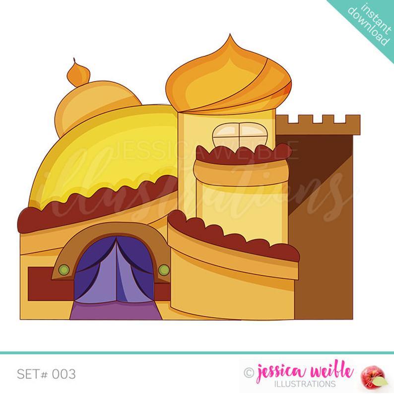 Cute digital desert castle. Palace clipart arabian palace