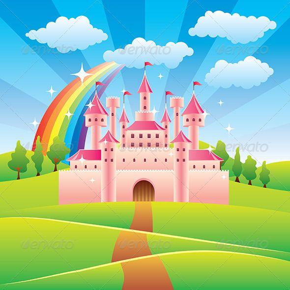 Fairy castles cartoon tale. Palace clipart background