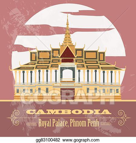 Palace clipart cambodia. Vector illustration infographics eps