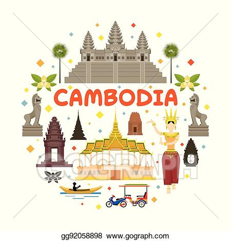 Eps illustration travel attraction. Palace clipart cambodia