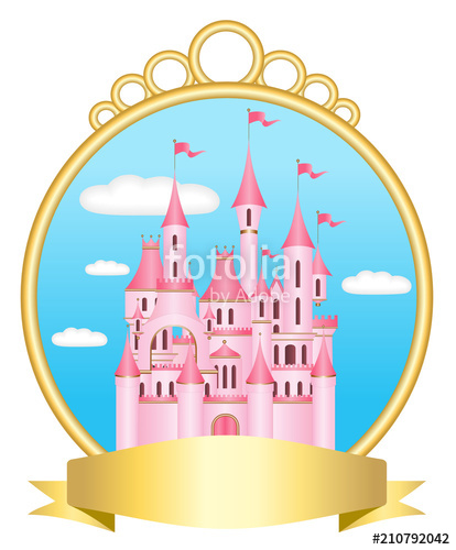 Palace clipart castle border. Pink princess with golden