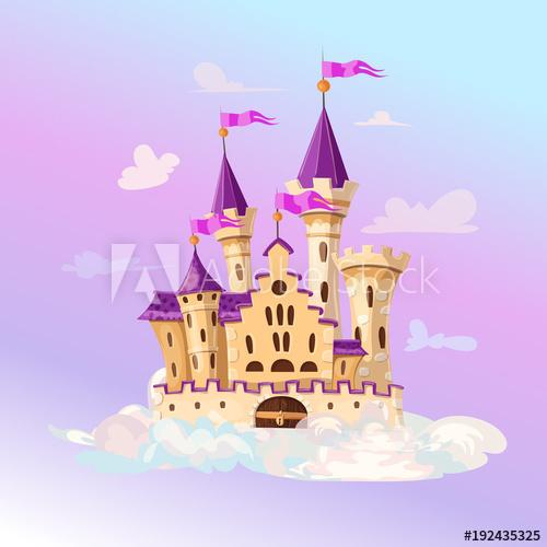 Fairytale cartoon cute fantasy. Palace clipart castle on cloud