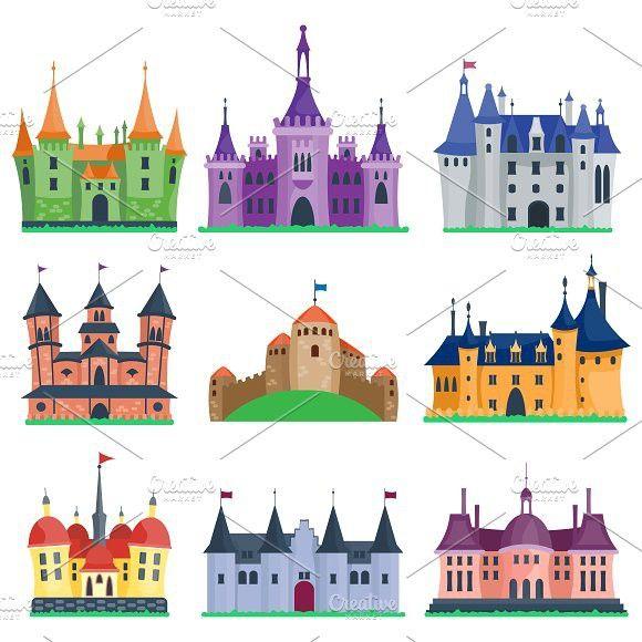 Cartoon vector building graphic. Palace clipart fairy tale castle