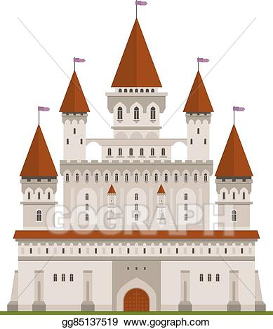 Vector illustration medieval fortified. Palace clipart flag castle