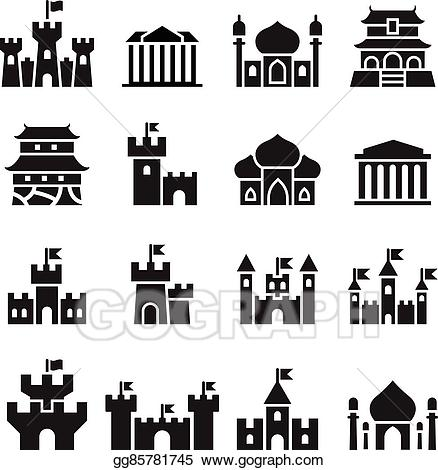 Palace clipart illustration. Vector stock castle icons