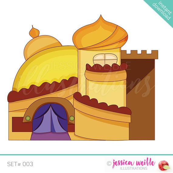 Arabian cute digital desert. Palace clipart illustration