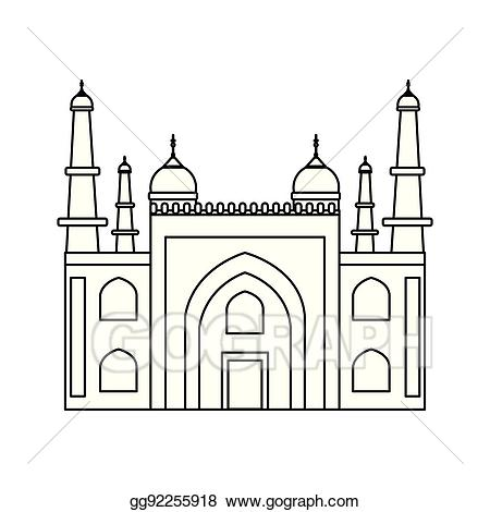 Palace clipart line. Vector illustration mysore india