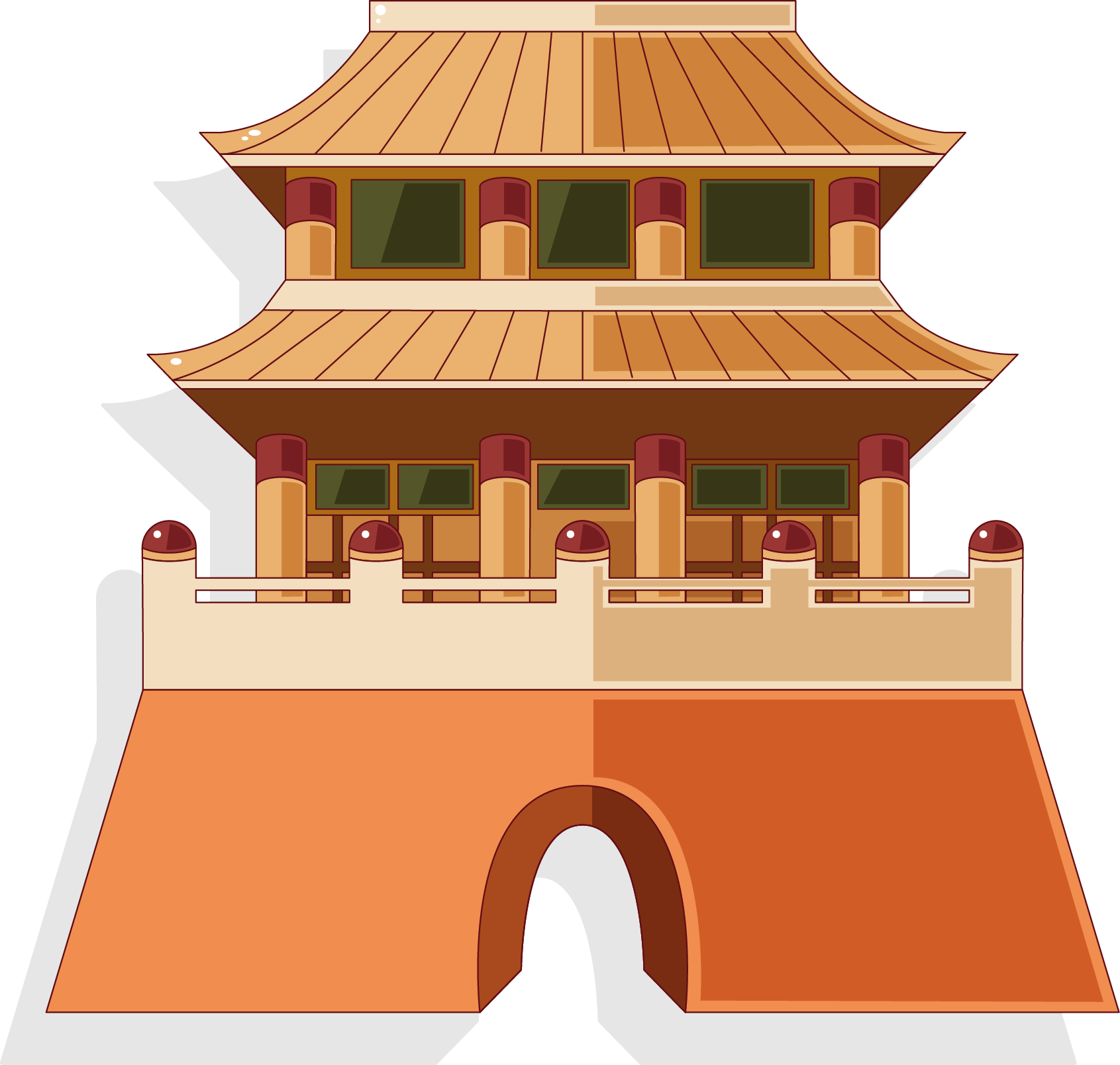 Palace clipart old palace. China building architecture illustration