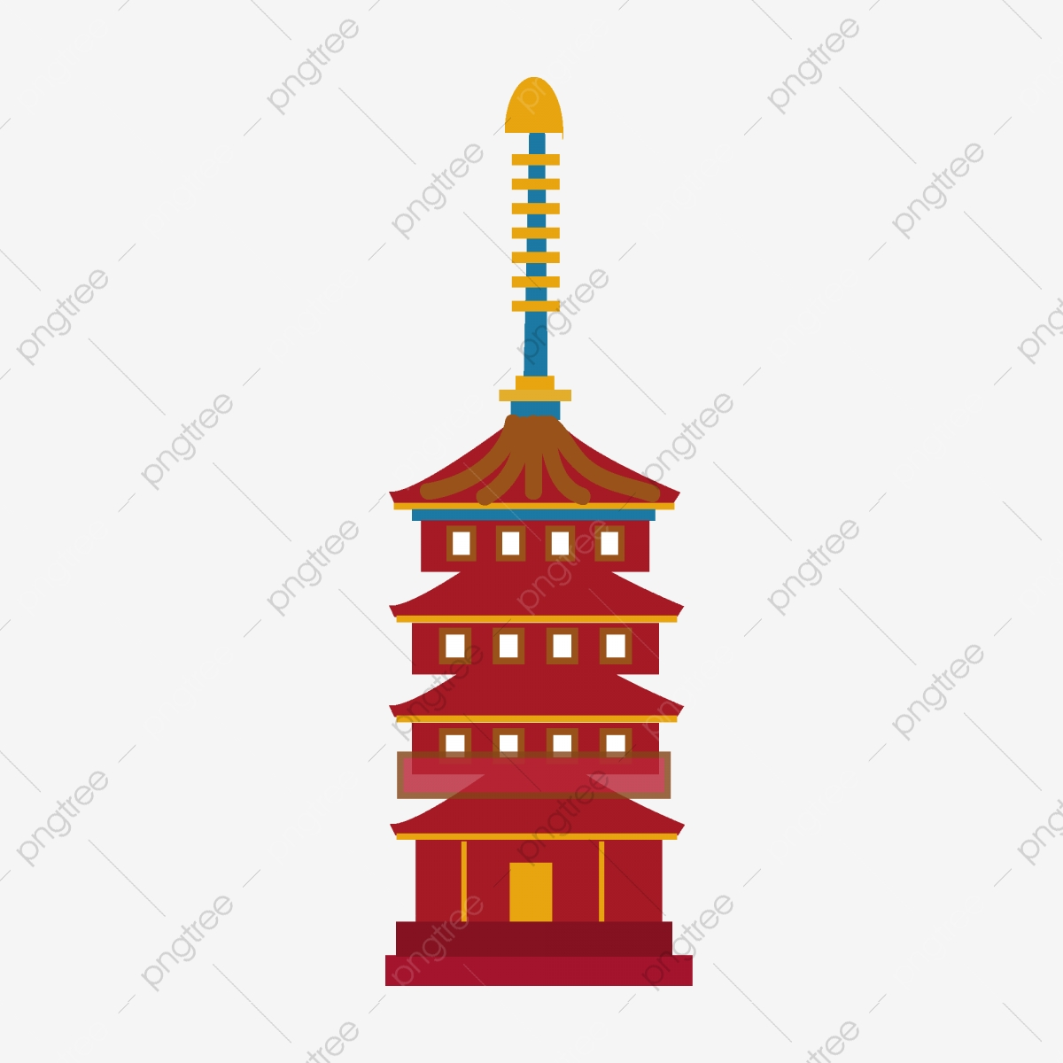 Cartoon minimalist ancient red. Palace clipart pagoda chinese