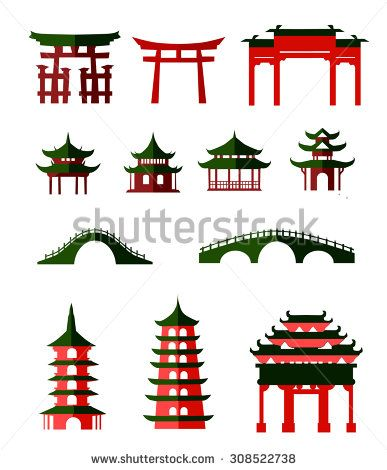 Palace clipart pagoda chinese. Japanese bridge stock vectors