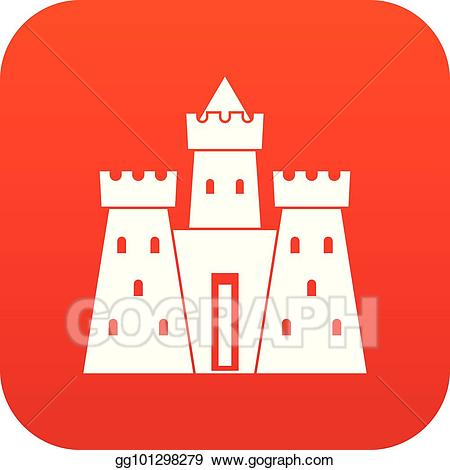 Palace clipart red castle. Eps illustration ancient icon
