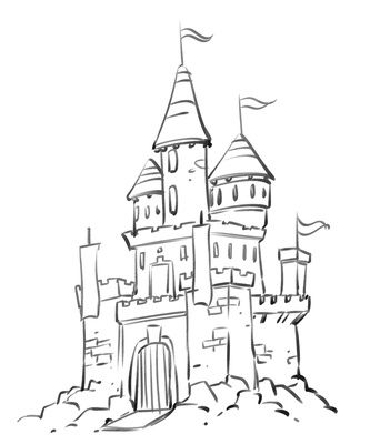 Palace clipart tall castle. Coloring pages cartoon disney