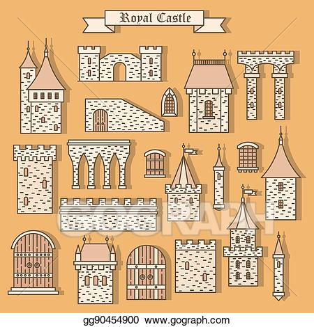 Palace clipart yellow castle. Eps vector cartoon stone