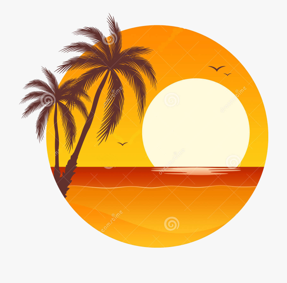 Palm tree pixel by. Sunset clipart illustration