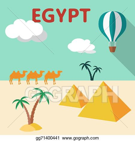 Palm clipart tree egypt. Vector art travel flat