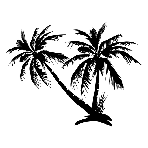 Palm tree vector png. Trees silhouette on island