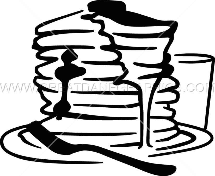 Stack production ready artwork. Pancake clipart black and white