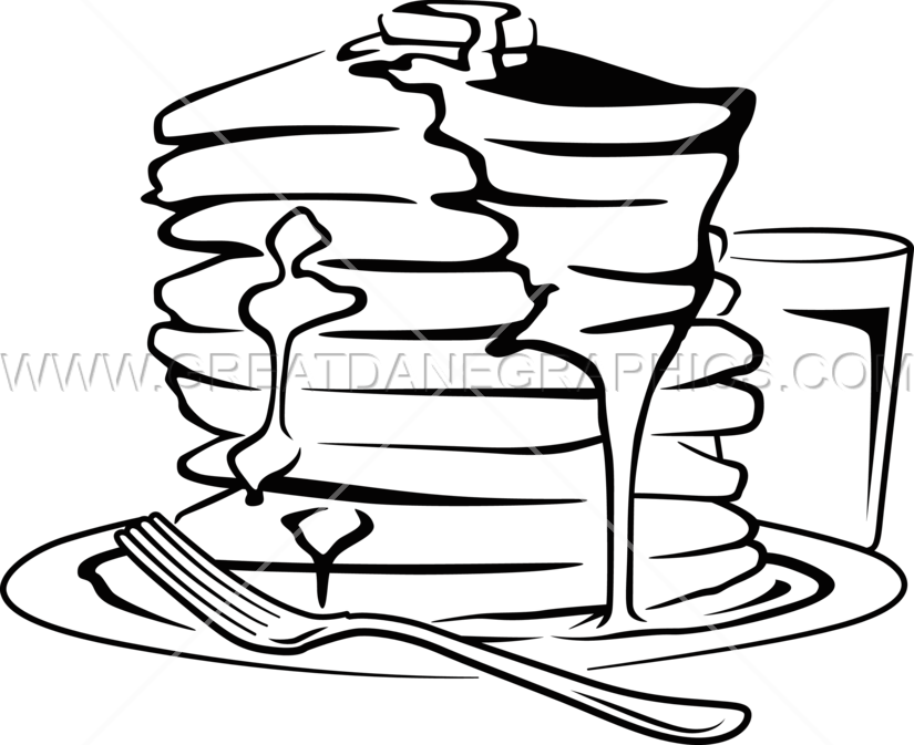 Pancake clipart black and white. Stack production ready artwork