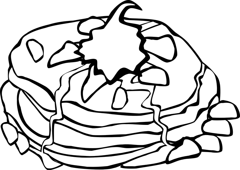 Coloring sheet food coloringsheets. Pancake clipart black and white