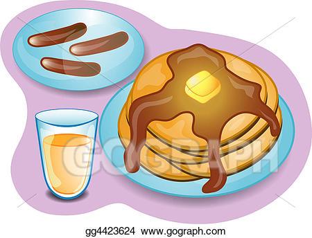 Pancake clipart pancake sausage. Stock illustration complete breakfast