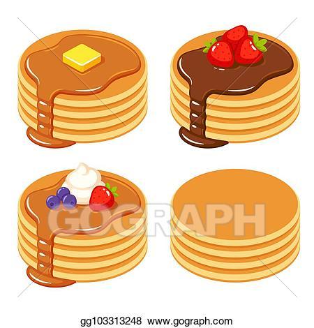 Pancakes clipart plain. Vector set of different
