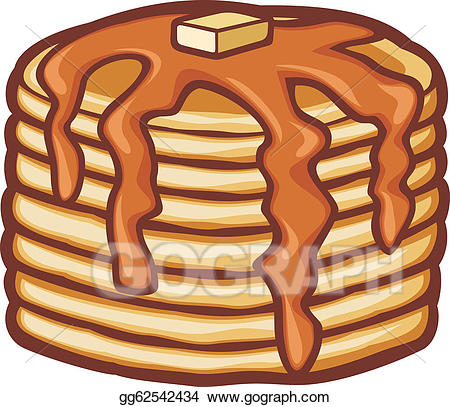 Waffle clipart butter. Vector art pancakes with