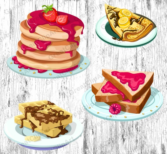 Pancakes clipart breakfast food.  waffles syrup set