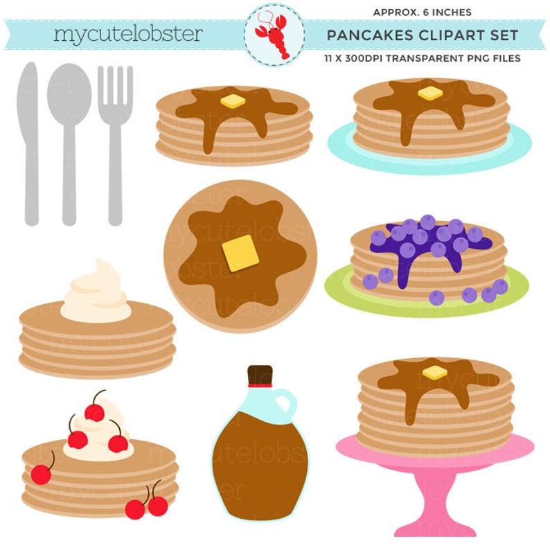 Pancakes clip art set. Waffle clipart pancake party