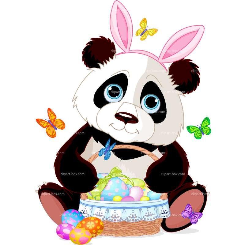 Easter vector design . Panda clipart royalty free