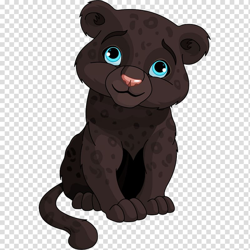 Black cat sticker drawing. Panther clipart baby panther