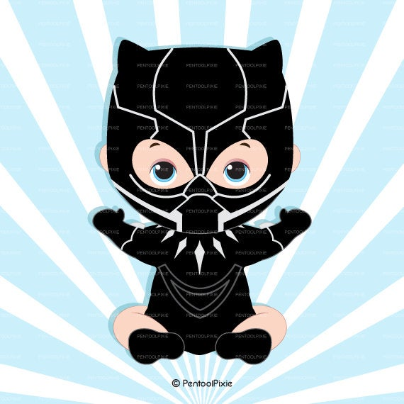 Black superhero boy super. Panther clipart baby panther