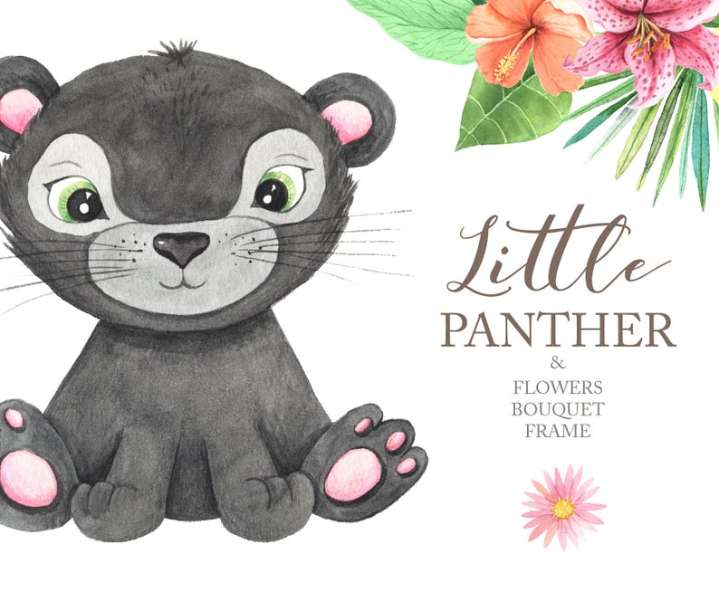 Watercolor little and tropical. Panther clipart cute