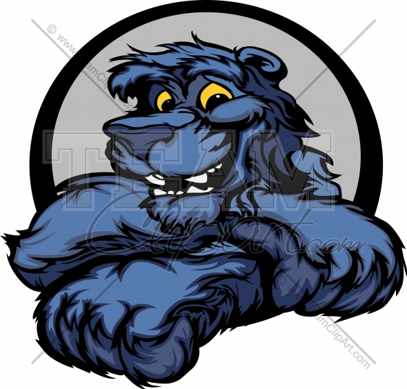Image easy to edit. Panther clipart happy