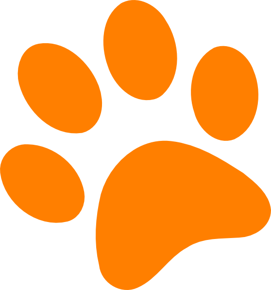 Orange paw print clip. Pawprint clipart panther