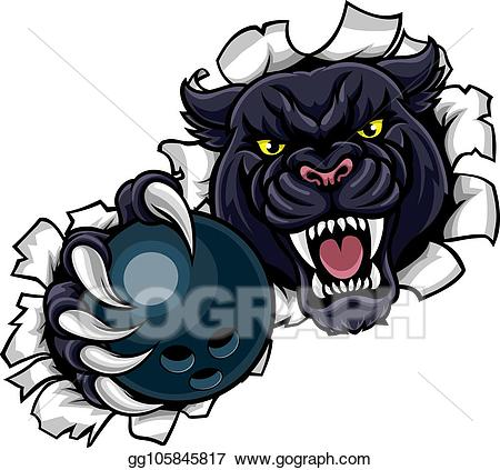 Vector illustration black bowling. Panther clipart sport