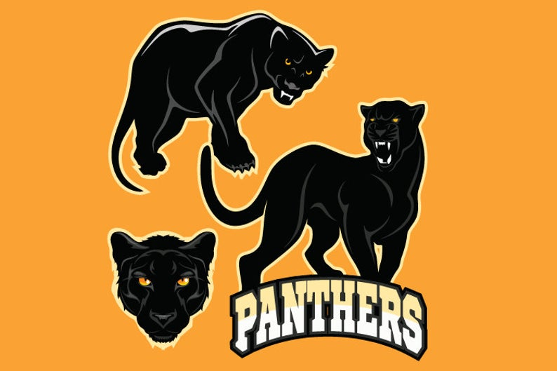 Panther clipart sport. Black mascots team vector