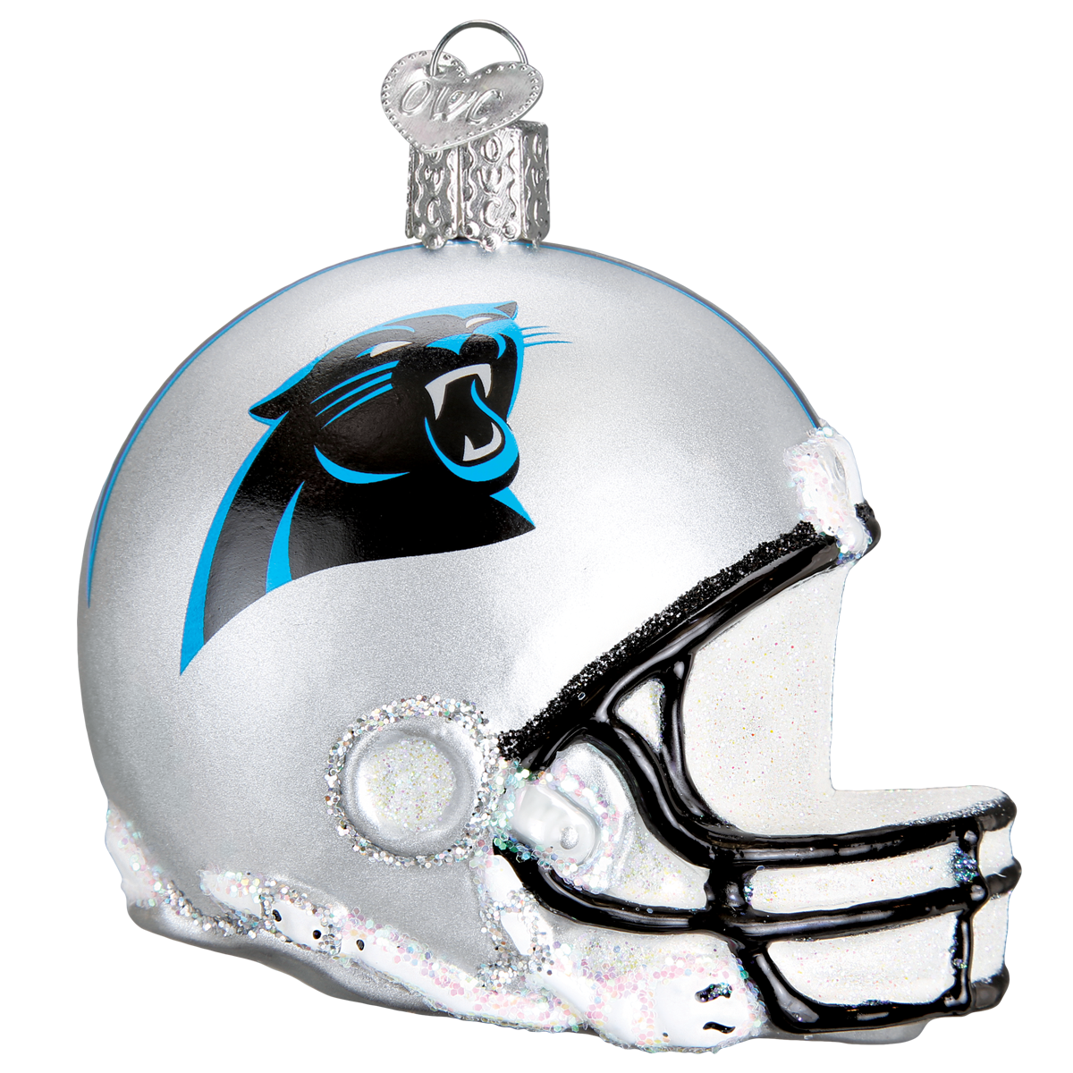 Carolina football glass ornament. Panthers helmet png