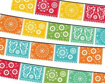 Papel picado clipart. Etsy digital fiesta mexican