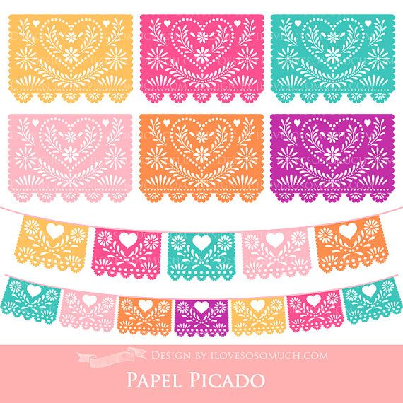 Peach and green colors. Papel picado clipart