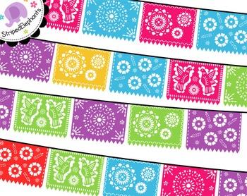 Mexican banners clip art. Papel picado clipart