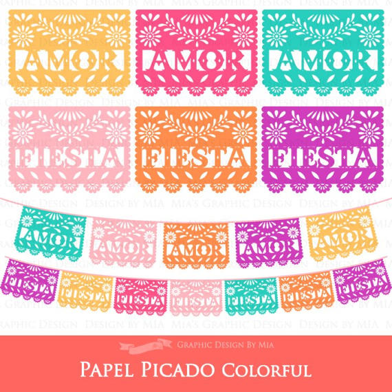 Papel picado clipart. Amor and fiesta colors