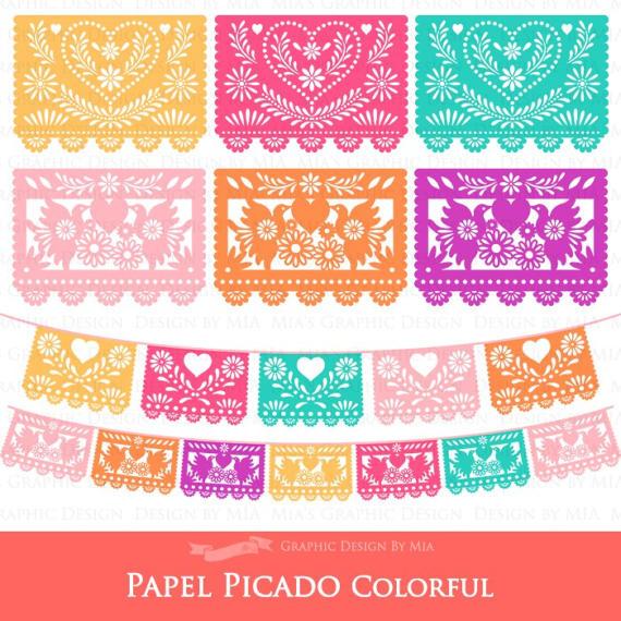 Papel picado clipart. Mexican bunting banner fiesta