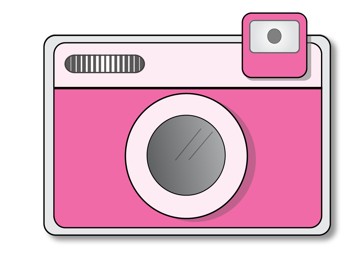 Camera with heart kid. Photography clipart cmera