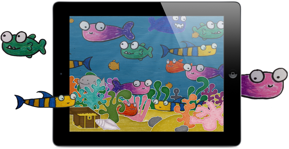 Paper clipart tablet. Squiggle fish