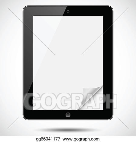 Eps vector with corner. Paper clipart tablet