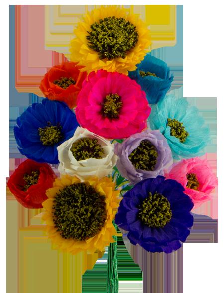 Assorted flowers dozen. Paper flower png
