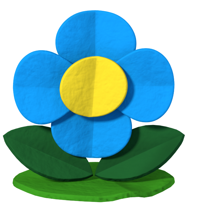 Image mario color splash. Paper flower png