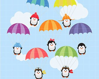 Parachute clipart. Etsy penguins in parachutes